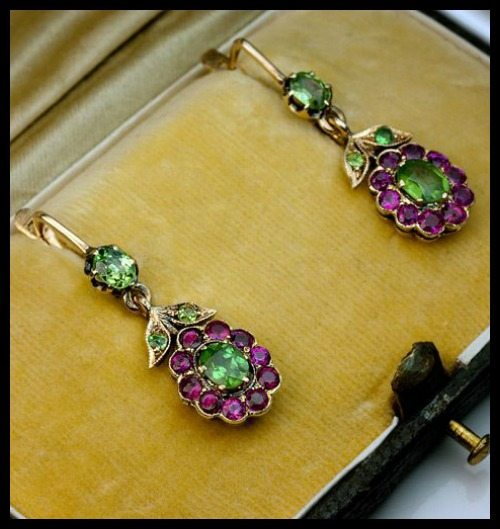 Antique Russian demantoid and ruby dangling earrings.