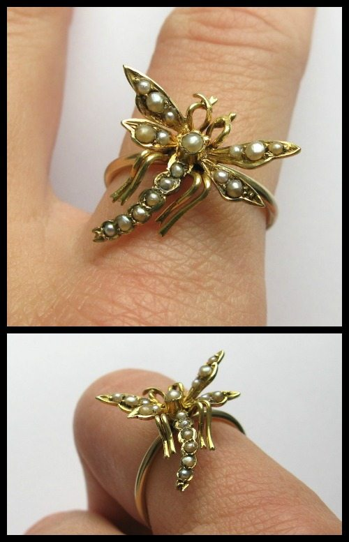 Antique Victorian dragonfly pearl and gold ring converted from a stickpin.