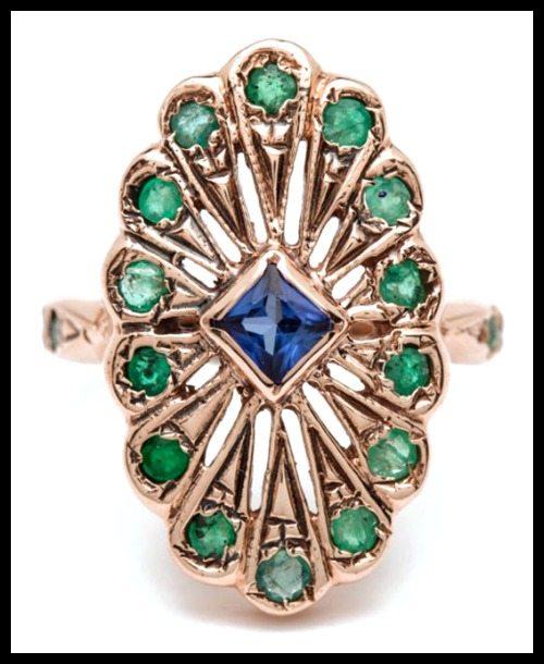 Arik Kastan sapphire and emerald Peacock ring in 14k rose gold.