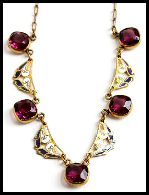 Art Deco brass, enamel, and simulated amethyst necklace; circa 1920's.