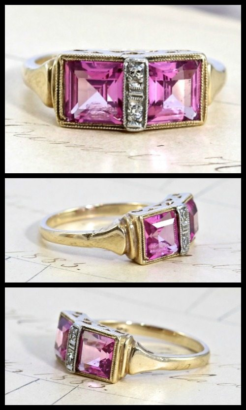 Art Deco pink spinel and diamond ring, circa 1930.