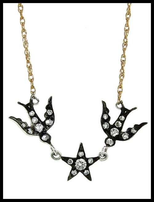 Blackbird and the Snow Birds and Star Necklace with diamonds in blackened silver on a gold chain.