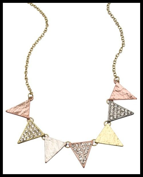 Blu Bijoux Crystal Spike necklace in rose, yellow, and white gold tone.