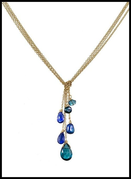 Dana Kellin mixed cobalt gem necklace with blue topaz, kyanite and blue pearl stones.