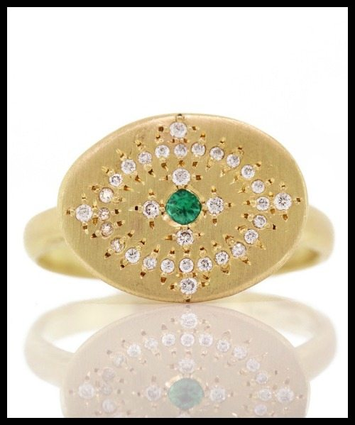 Emerald Heaven on Earth ring with diamonds and emerald in gold. By Adel Chefridi.