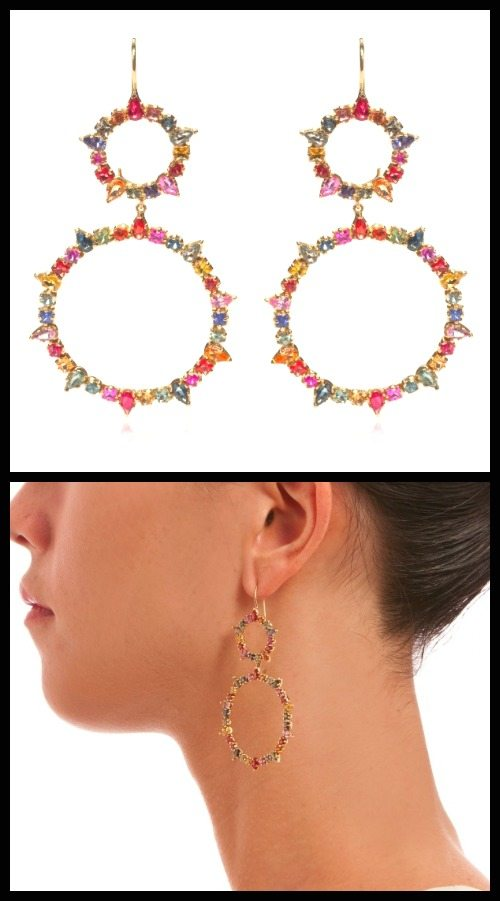 Emily and Ashley Sapphire circle earrings with multicolored sapphires in gold. Bottom circles are detachable. At Stone and Strand.