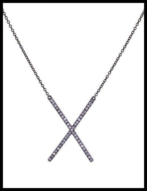 Eva Fehren gray diamond 'X' pendant necklace on blackened gold chain.