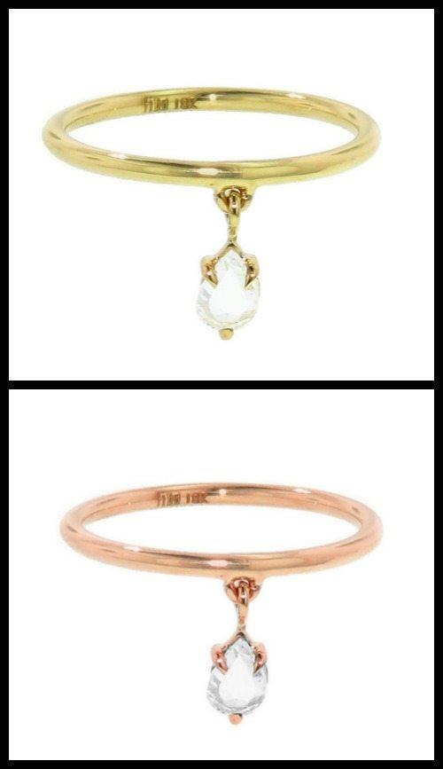 Finn rose-cut diamond dangle ring in yellow or rose gold.
