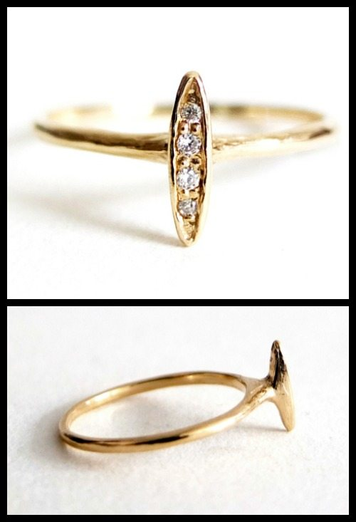 Four diamond baguette ring in yellow gold by n + a New York.