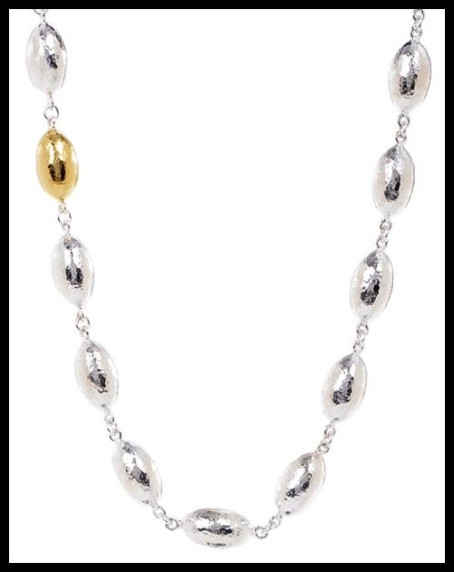 Gurhan medium Cocoon necklace in sterling silver and 24k yellow gold.