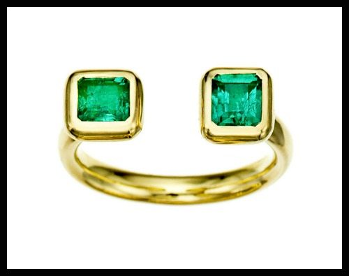 Jemma Wynne Emerald Open Ring in yellow gold.