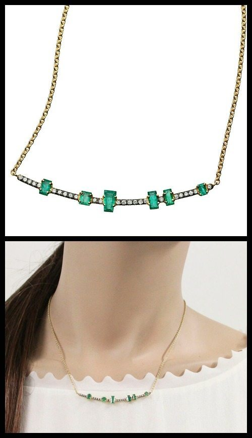 Jemma Wynne Emerald and Diamond Curved Bar Necklace.
