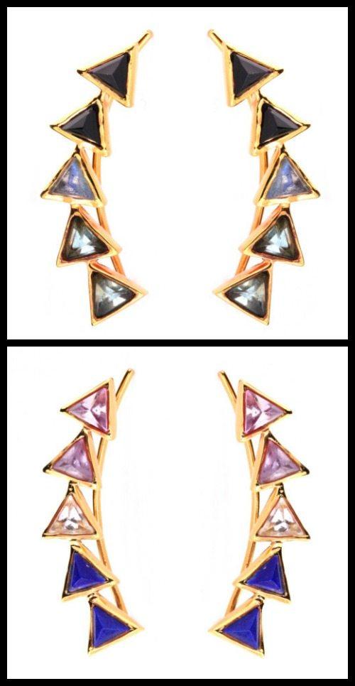 Kora ear climbers by Katie Diamond jewelry in apatite, labrodorite, and black garnet or lapis, quartz, and amethyst.