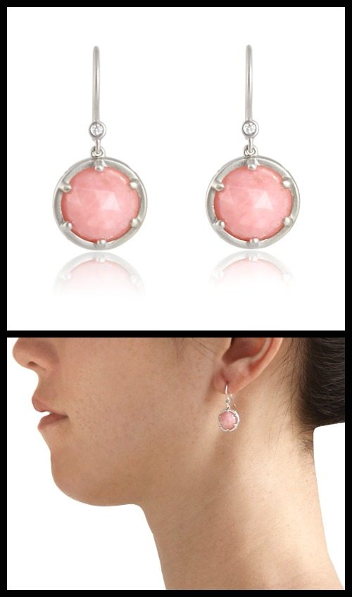 Lyndsay Caleo Pink Opal Cloud earrings with rose-cut pink opals and diamonds in brushed matte sterling silver. At Stone and Strand.