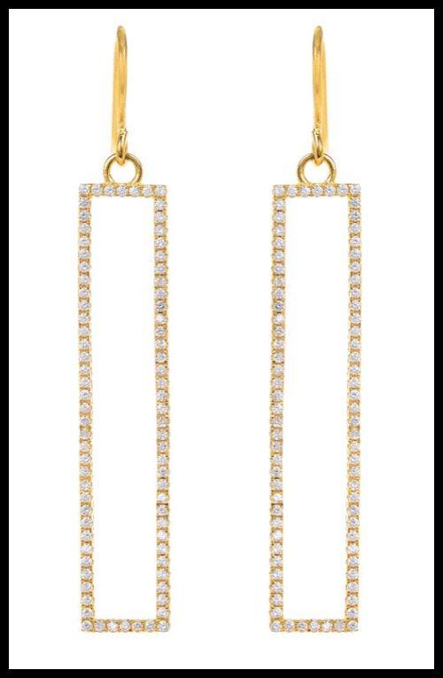 Marcia Moran gold-plate CZ rectangle earrings.