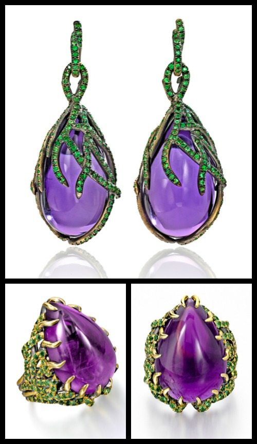 Marie Antoinette earrings and ring by Wendy Brandes with tsavorites and amethyst.