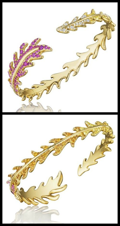 Mimi So Phoenix hinged cuff bracelet in 18k yellow gold with rubies, orange sapphires, yellow sapphires, and diamonds.