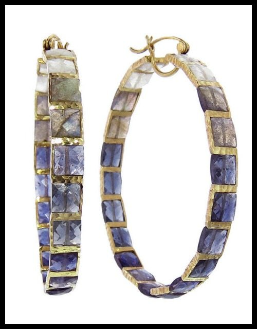 Nak Armstrong Iolite Mosaic Hoop earrings in 18k yellow gold.