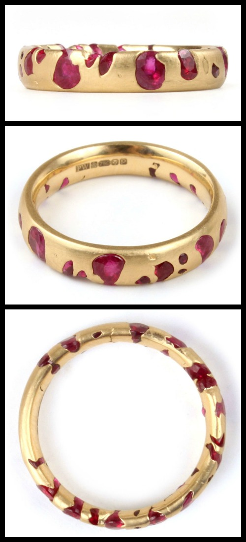 Polly Wales narrow band ring with rubies in 18k yellow gold.