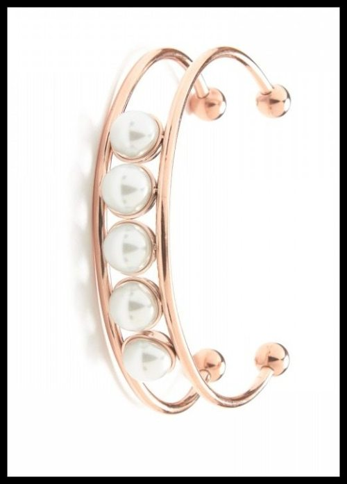 Rosalynn Pearl Cuff by Jeweliq in rose gold.