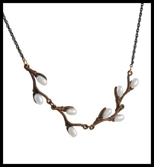 Silver Seasons pussy willow on chain necklace with pearl buds on a bronze branch.