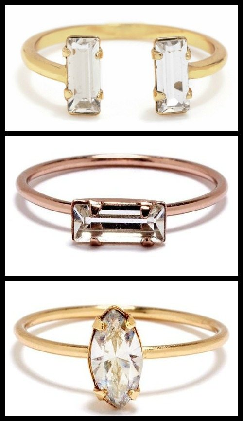 Swarovski crystal and gold vermeil stacking rings from Bing Bang NYC, available in rose, yellow, and white gold.