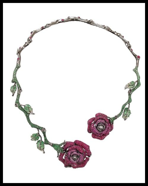 Wendy Yue Ruby Roses necklace with rubies, sapphires, tsavorites, and diamonds.