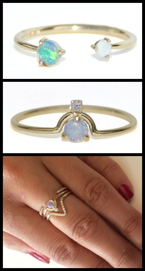 Wwake opal and diamond rings in yellow gold.