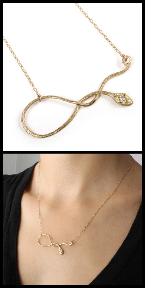 Yayoi Forest Serpentine necklace in 14k yellow gold with diamond eye.