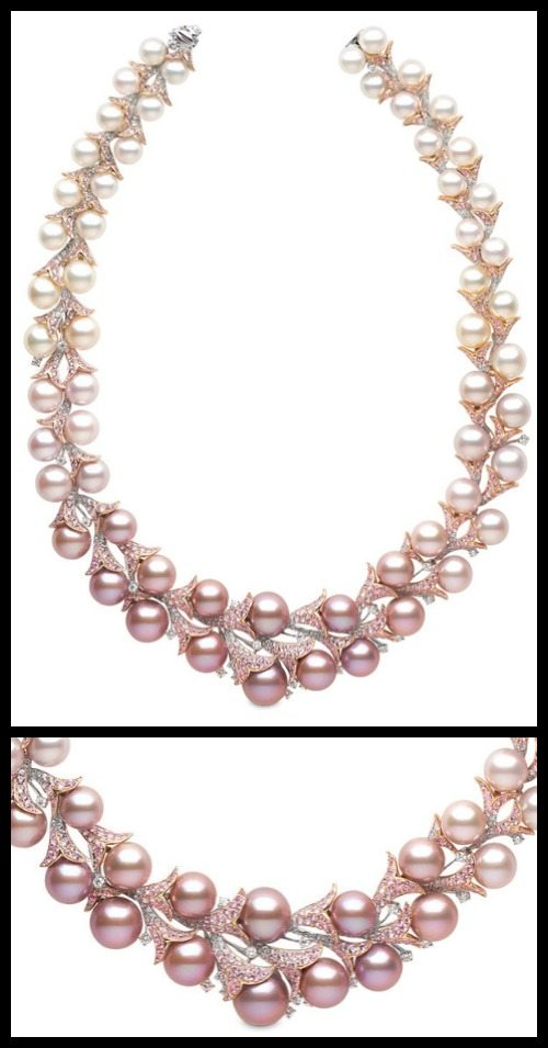 Yoko London's Almalfi necklace with diamonds, pink sapphires, south sea and ayoka pearls, and naturally pink pearls in rose and yellow gold.