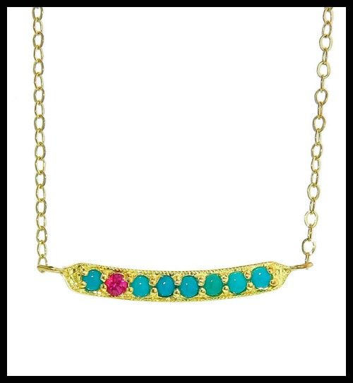 ila&i Boccacio necklace with turquoise and ruby.