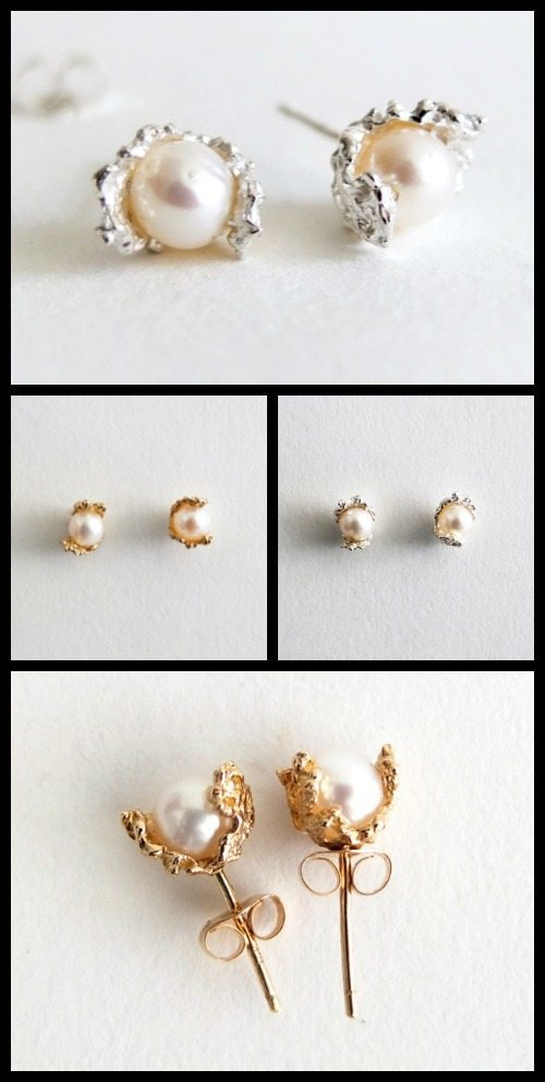 n + a New York's freshwater pearl earrings in sterling silver and yellow gold.