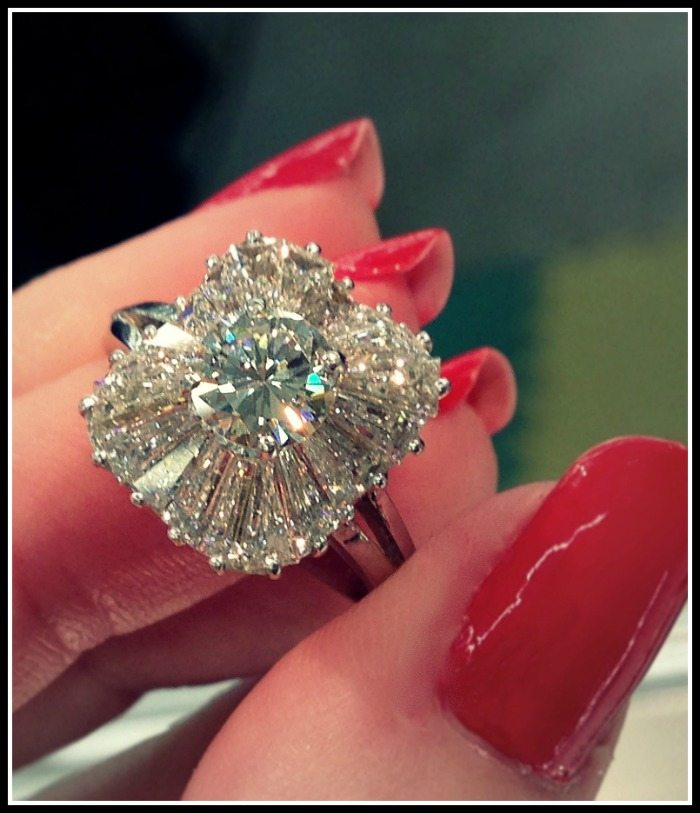 Antique 1930's ballerina diamond engagement ring at Scott Antique Market. Via Diamonds in the Library.