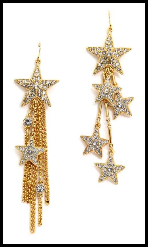Ben-Amun asymmetrical star dangle earrings with Swarovski crystal detailing.