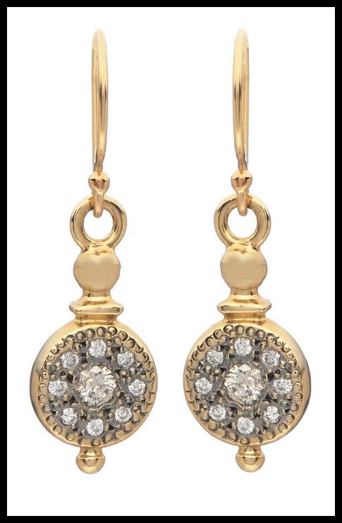 Lori McLean diamond and 14k yellow gold pendulum earrings.