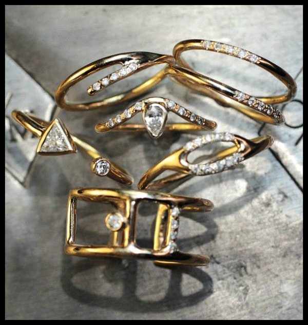 The delicate gold and diamond rings of ChincharMaloney's new Diamond Deco collection.