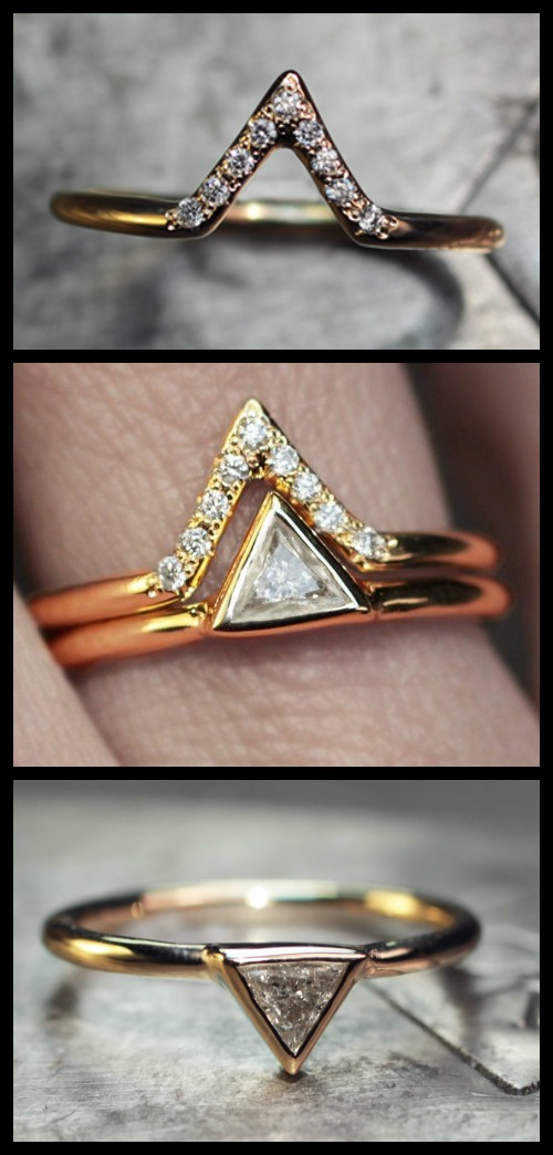 These gold and diamond rings from ChincharMaloney's Diamond Deco collection are a perfect pair.