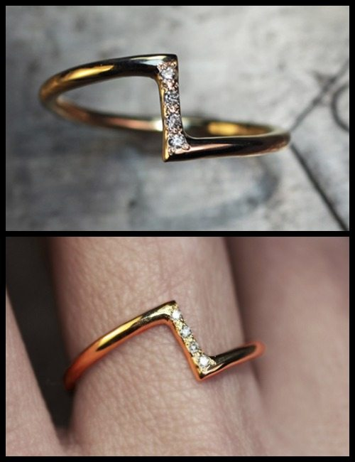 Zig Zag ring in yellow gold and diamonds; from the ChincharMaloney Diamond Deco collection.