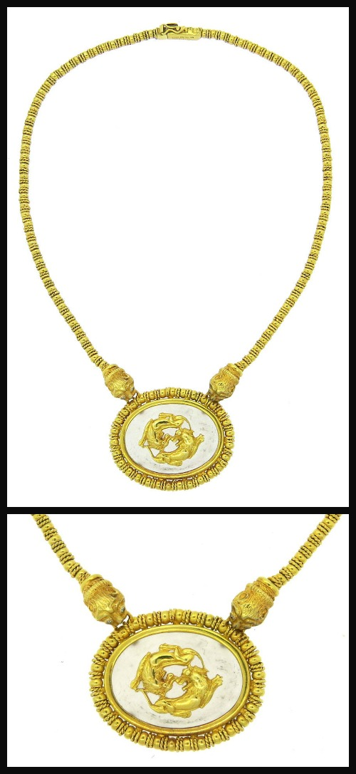 Ilias Lalaounis frosted crystal and gold chimera necklace, full view.