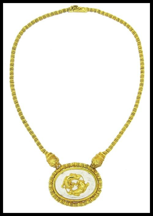 Ilias Lalaounis frosted crystal and gold chimera necklace in 18k gold with diamonds