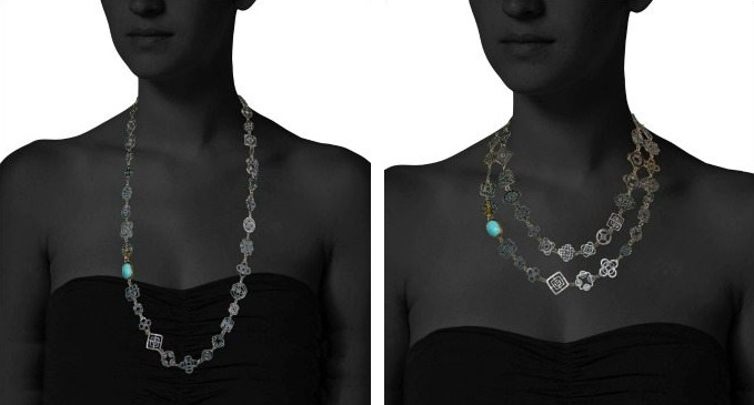 Judy Geib necklace worn two ways: the very delicate silver Casino Royale necklace with turquoise and 14k gold