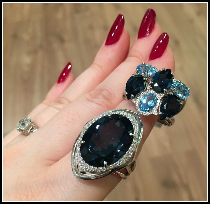 London Blue topaz and diamond rings by Vianna Brasil