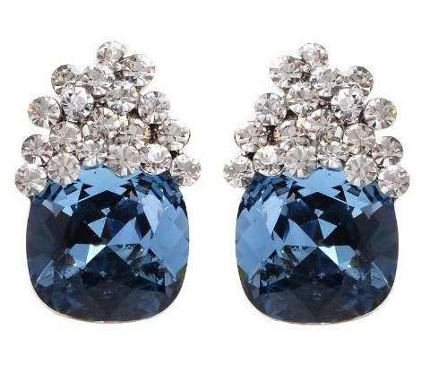 Treat Yo'self: stud earrings under $100, featuring these Theia blue Swarovski crystal stud earrings.