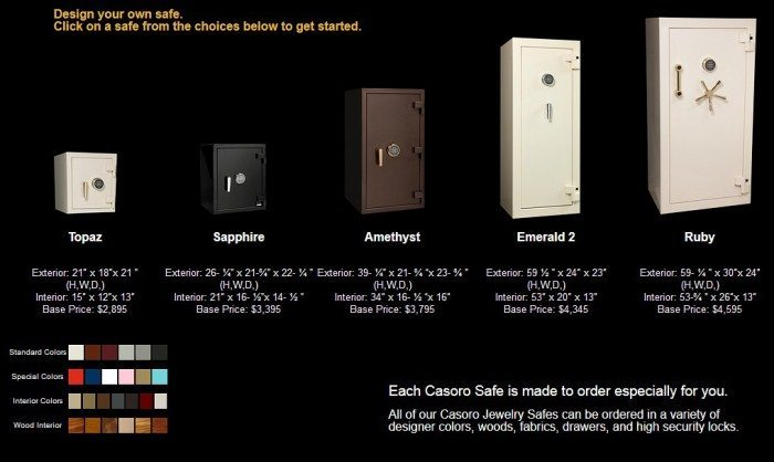 Build your own custom-designed jewelry safe from Casoro