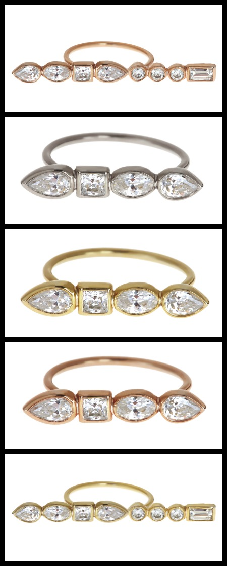 Diamond Stepping Stone rings by Ilana Ariel in white, rose, and yellow gold.