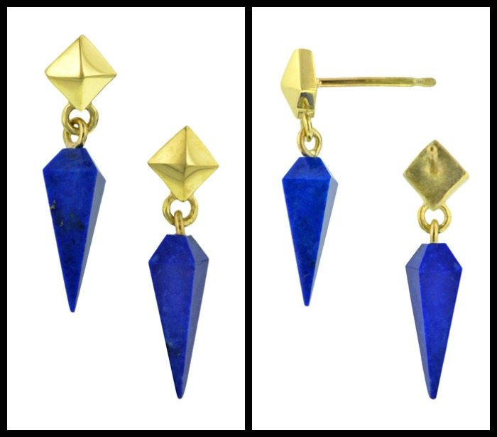 Heirloom by Doyle & Doyle Plumb earrings in lapis and gold - both views