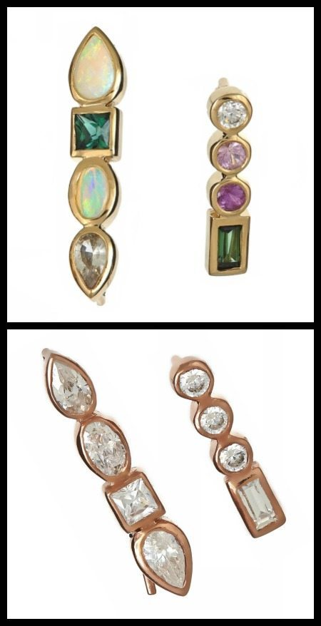 Ilana Ariel Stepping Stone stud earrings in yellow gold with colored gemstones or rose gold with diamonds