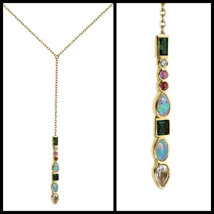 Ilana Ariel lariat Stepping Stone necklace in yellow gold with gemstones and diamonds