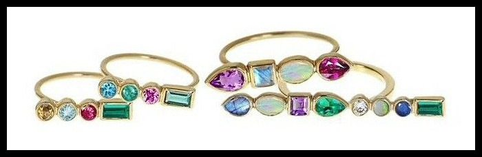 Ilana Ariel's stepping stone rings in yellow gold with colorful gemstones