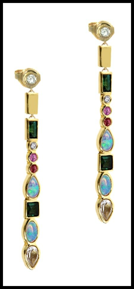 Long Stepping Stone earrings by Ilana Ariel, with colorful gemstones and diamonds set in yellow gold